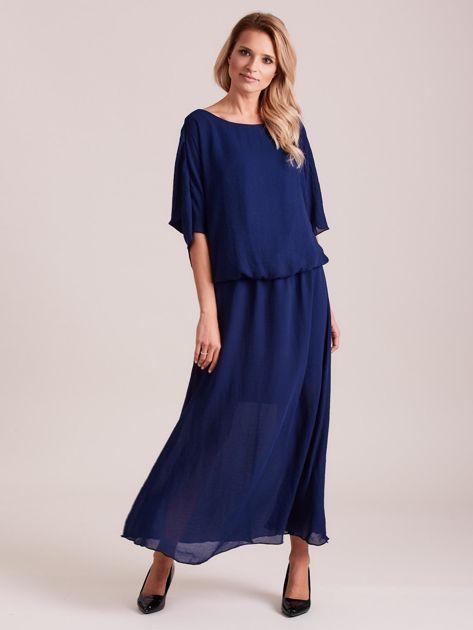 Długa zwiewna sukienka ciemnoniebieska                              zdj.                              1
