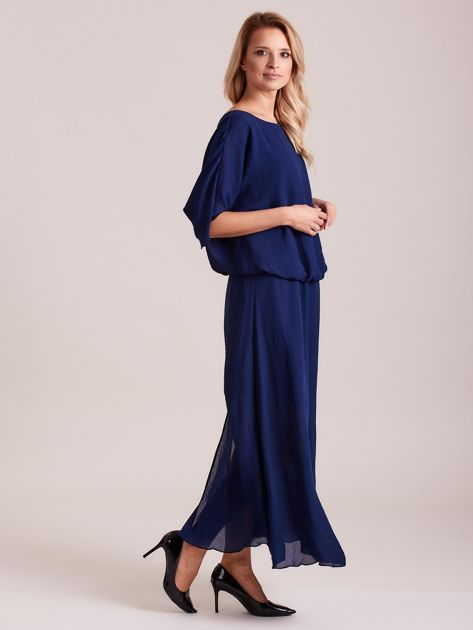 Długa zwiewna sukienka ciemnoniebieska                              zdj.                              3