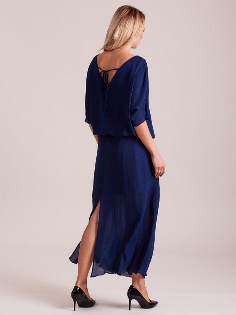 Długa zwiewna sukienka ciemnoniebieska                              zdj.                              2