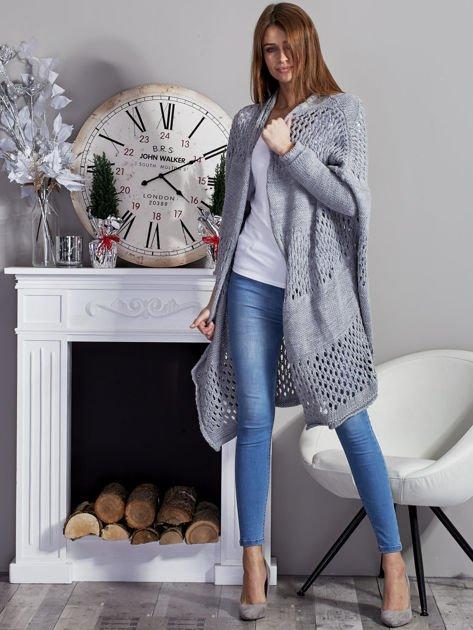 Długi ażurowany sweter szary                              zdj.                              4