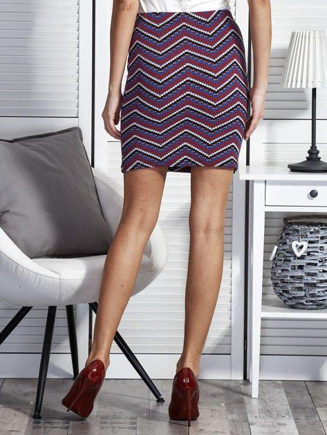 Dopasowana spódnica damska w etniczne motywy fioletowa                              zdj.                              2