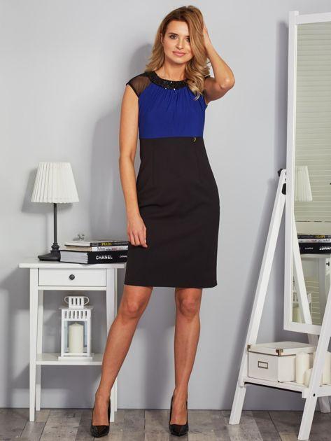 Dopasowana sukienka koktajlowa z szarfą czarno-kobaltowa                              zdj.                              4