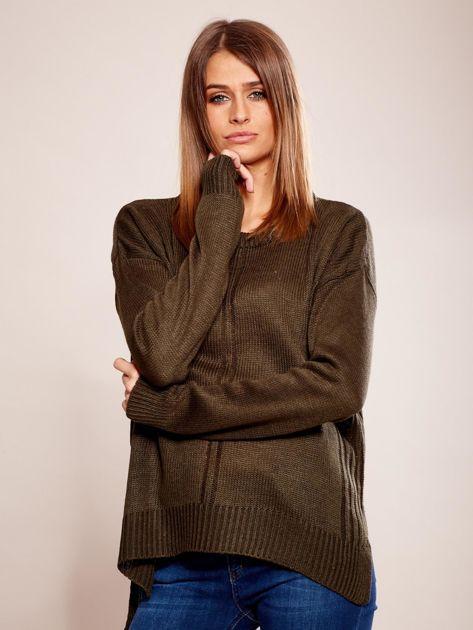 Dzianinowy sweter khaki                              zdj.                              1