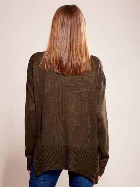 Dzianinowy sweter khaki                              zdj.                              2