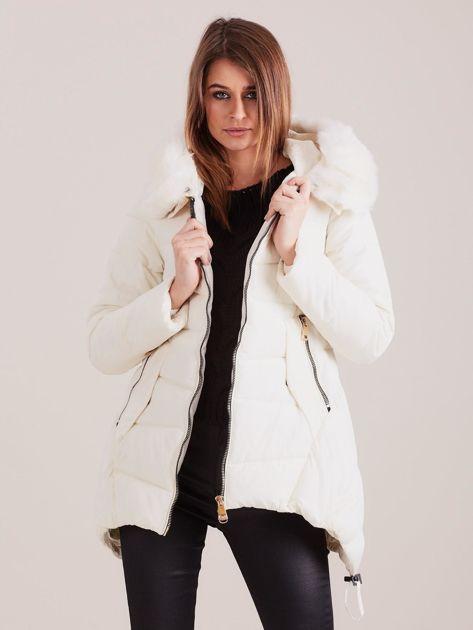 Ecru asymetryczna kurtka zimowa                              zdj.                              7