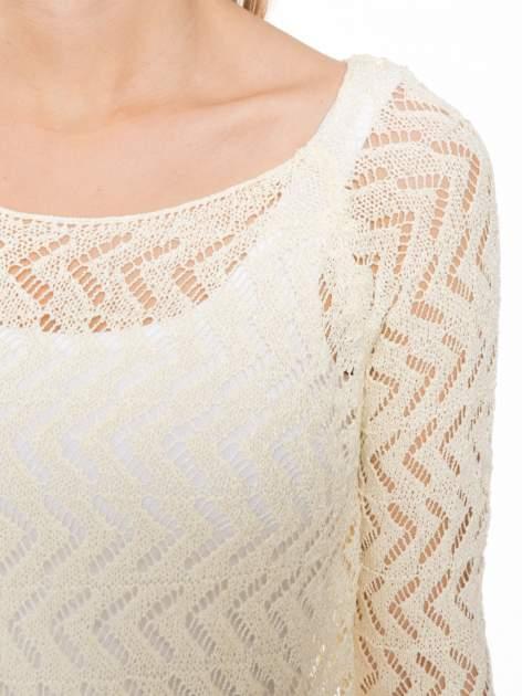 Ecru ażurowy dłuższy sweter                              zdj.                              5