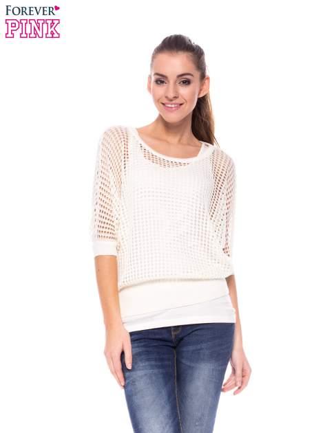 Ecru ażurowy sweter oversize