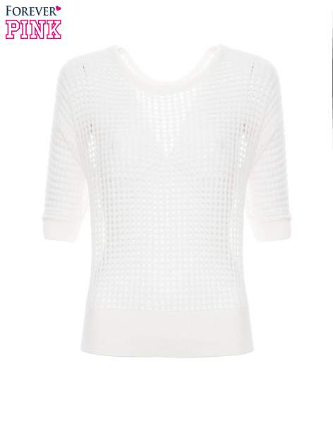 Ecru ażurowy sweter oversize                                  zdj.                                  2