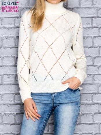 Ecru ażurowy sweter z golfem                                  zdj.                                  1