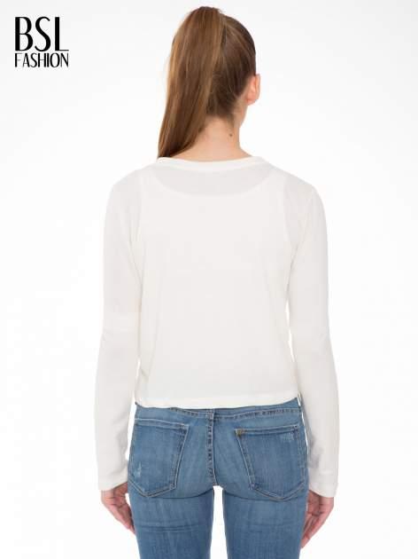 Ecru bluza cropped z nadrukiem READY TO LEAVE                                  zdj.                                  4