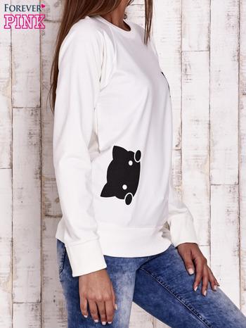 Ecru bluza z kocimi motywami                                  zdj.                                  3