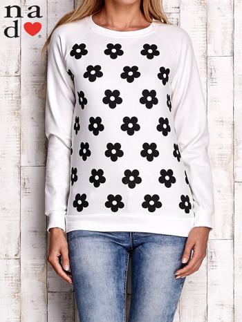 Ecru bluza z nadrukiem kwiatów                                  zdj.                                  1