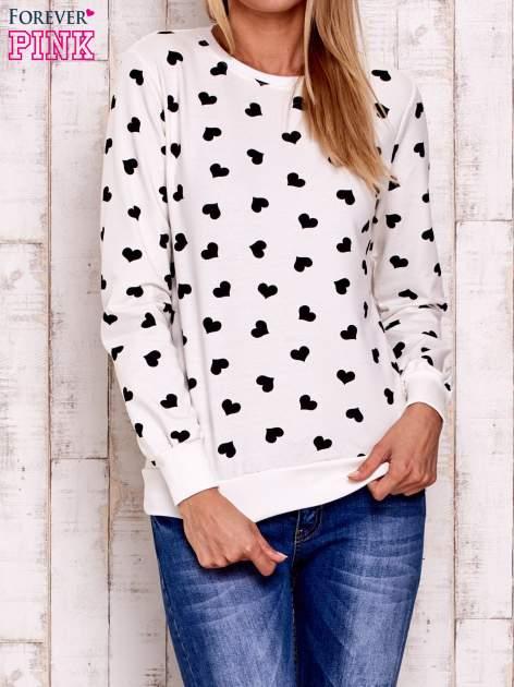 Ecru bluza z nadrukiem serduszek                                  zdj.                                  1