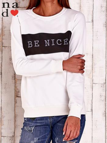 Ecru bluza z napisem BE NICE                                  zdj.                                  1