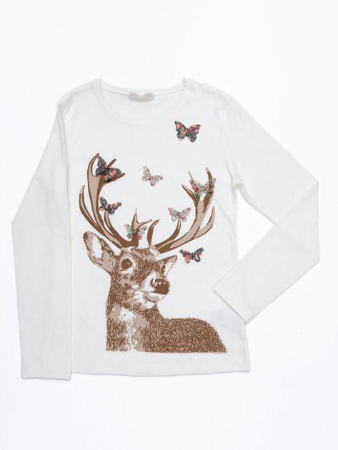 Ecru bluzka bawełniana z nadrukiem jelenia i motylkami                              zdj.                              1