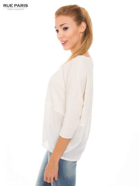 Ecru bluzka oversize z siateczkowym dołem                                  zdj.                                  2