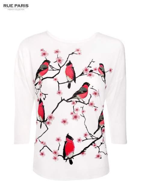 Ecru bluzka z floral printem                                  zdj.                                  1