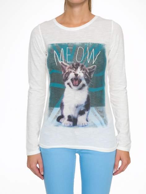 Ecru bluzka z nadrukiem kotka i napisem MEOW                                  zdj.                                  7