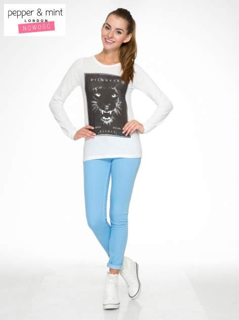 Ecru bluzka z nadrukiem lamparta i napisem WILD HEART                                  zdj.                                  2