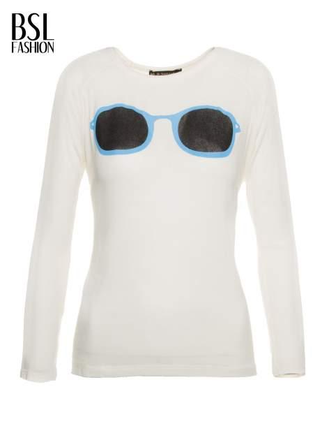 Ecru bluzka z nadrukiem okularów                                  zdj.                                  2