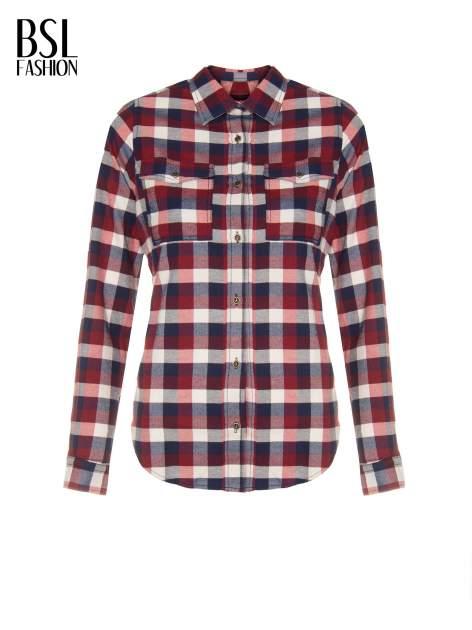 Ecru-bordowa damska koszula w kratę z kieszonkami                                  zdj.                                  2
