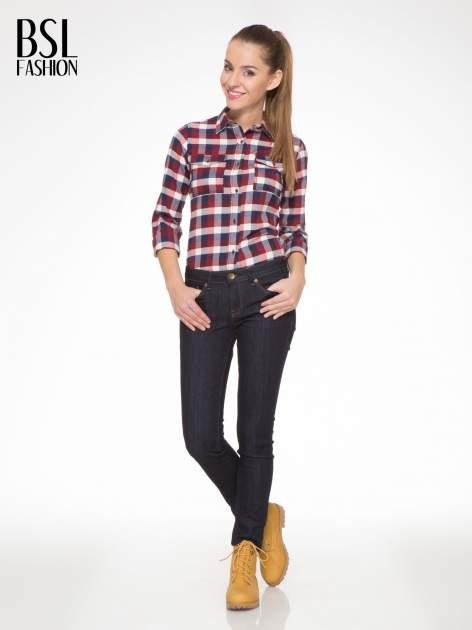 Ecru-bordowa damska koszula w kratę z kieszonkami                                  zdj.                                  6