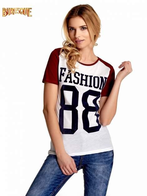 Ecru-bordowy t-shirt z nadrukiem FASHION 88                                  zdj.                                  1