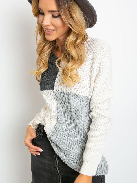 Ecru-ciemnoszary sweter Latina                              zdj.                              1