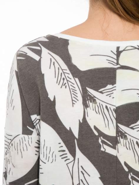 Ecru-czarna bluza z nadrukiem floral print i suwakami                                  zdj.                                  7