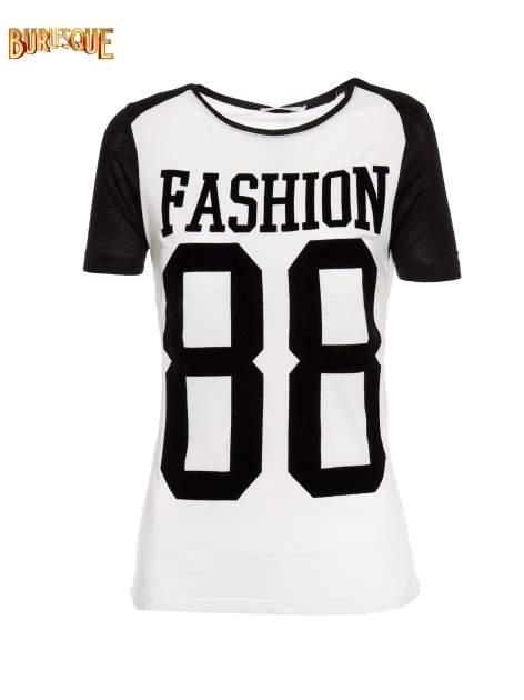 Ecru-czarny t-shirt z nadrukiem FASHION 88