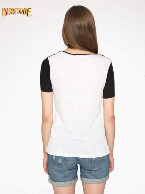 Ecru-czarny t-shirt z nadrukiem FASHION 88                                  zdj.                                  4