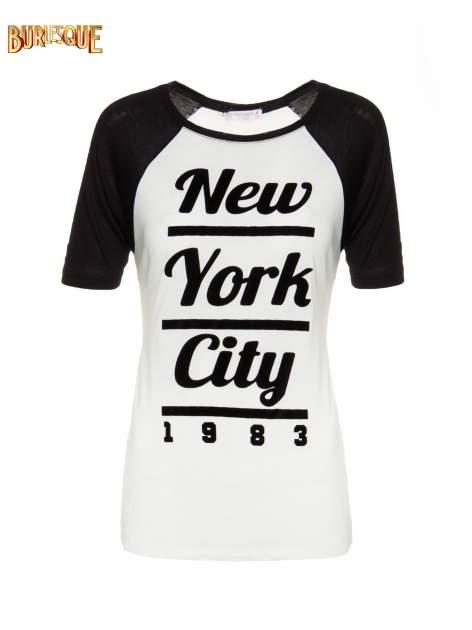 Ecru-czarny t-shirt z nadrukiem NEW YORK CITY 1983                                  zdj.                                  1