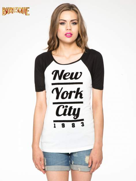 Ecru-czarny t-shirt z nadrukiem NEW YORK CITY 1983                                  zdj.                                  11