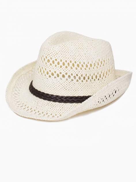 Ecru damski kapelusz kowbojski z ciemną plecionką                                  zdj.                                  4