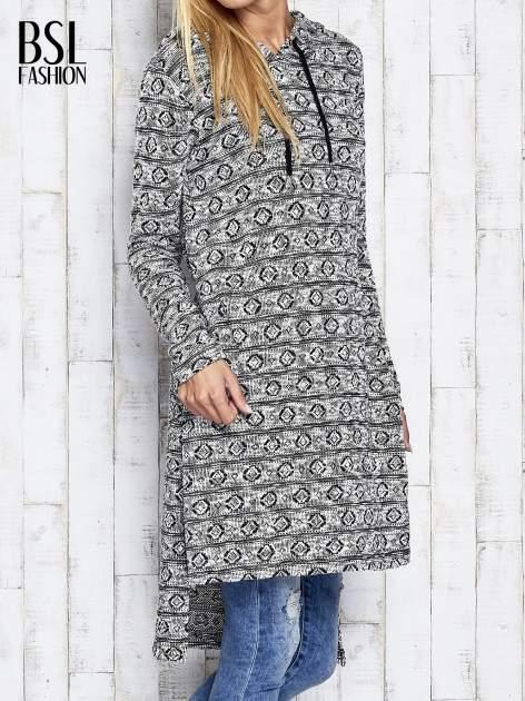 Ecru długi sweter z kapturem                                  zdj.                                  4