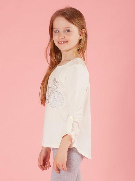 Ecru dziewczęca bluzka z aplikacją                              zdj.                              3