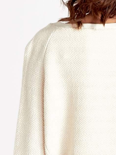 Ecru fakturowana bluza w stylu boho                                  zdj.                                  7