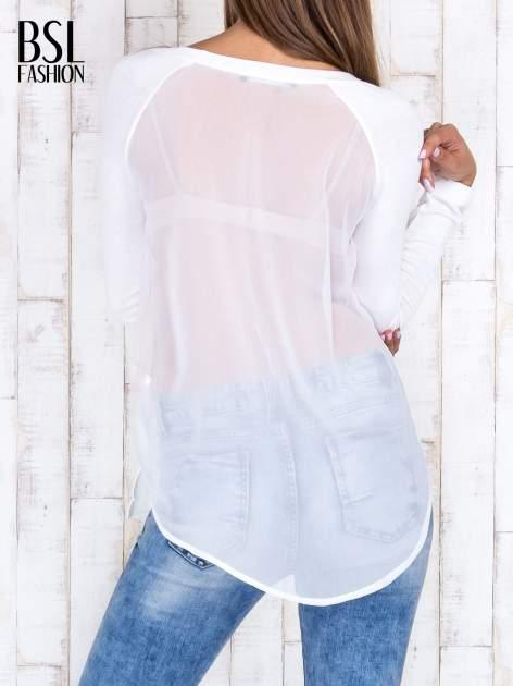 Ecru gładka bluzka z długim rękawem i tiulowym tyłem                                  zdj.                                  4
