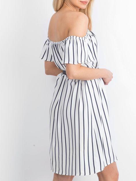 Ecru-granatowa sukienka Santos                              zdj.                              2