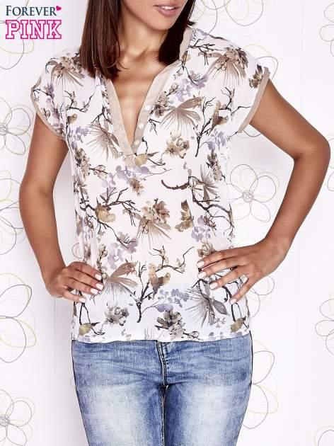 Ecru koszula z kwiatowym motywem i ażurowym tyłem                                  zdj.                                  1