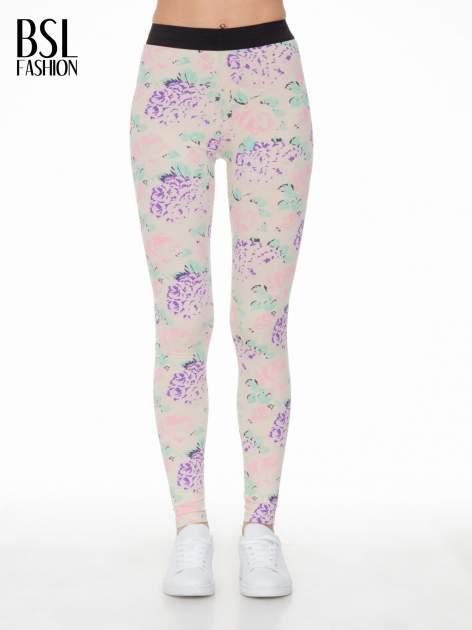 Ecru legginsy we wzór floral print z elastyczną gumą w pasie