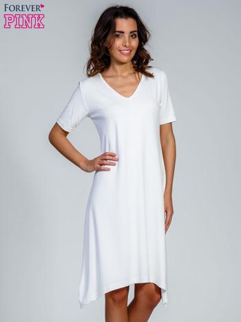 Ecru luźna sukienka z asymetrycznym dołem                                  zdj.                                  1