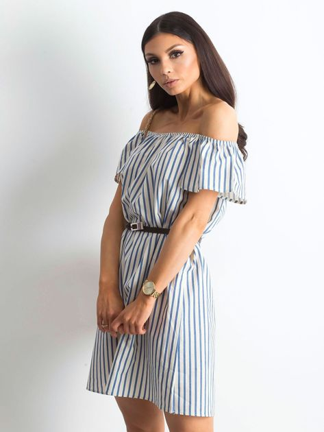 Ecru-niebieska sukienka Marinero                              zdj.                              5