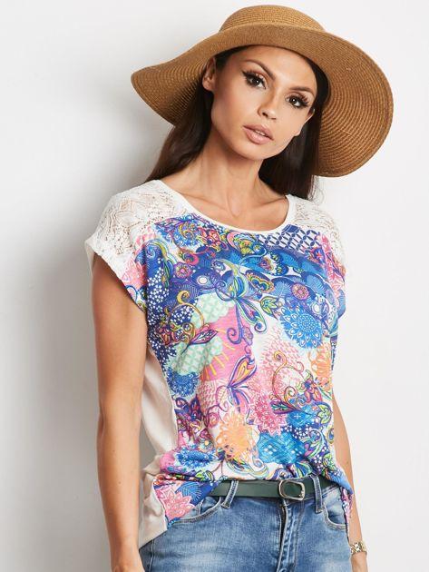 Ecru-niebieski t-shirt Traditionally                              zdj.                              1