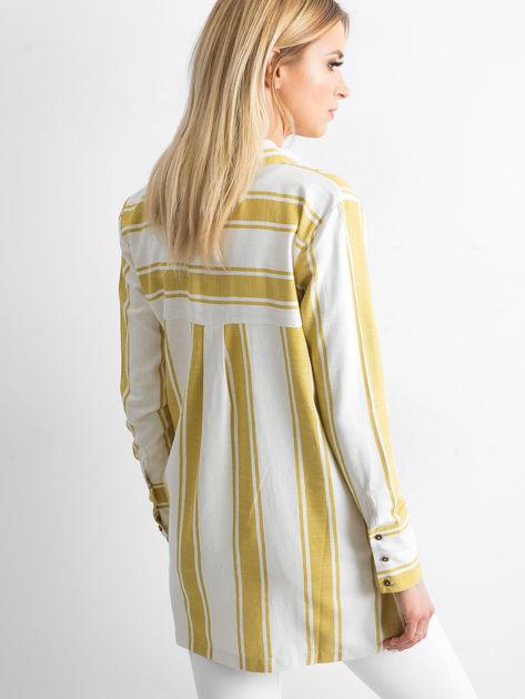 Ecru-oliwkowa koszula w pasy                              zdj.                              2