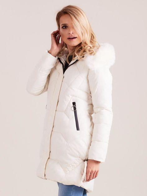 Ecru pikowana kurtka na zimę                              zdj.                              5