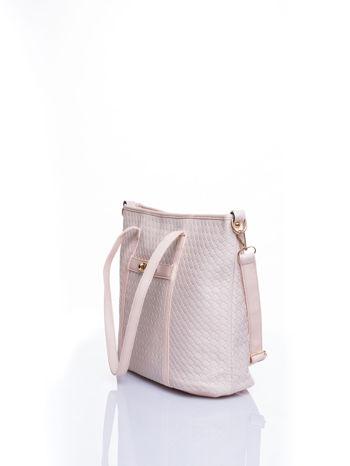 Ecru pleciona torba shopper bag ze złotym detalem                                  zdj.                                  4