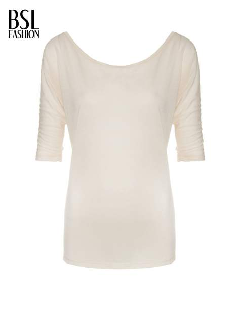 Ecru półtransparentna bluzka z łódkowym dekoltem i rękawami 3/4                                  zdj.                                  2
