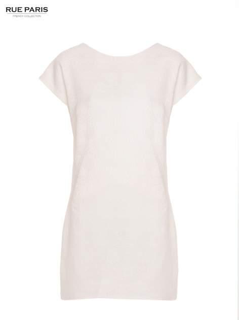Ecru prosta sukienka tłoczona w róże z suwakiem z tyłu                                  zdj.                                  2