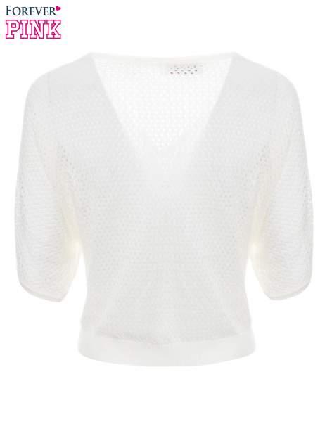 Ecru siateczkowy sweter oversize                                  zdj.                                  7